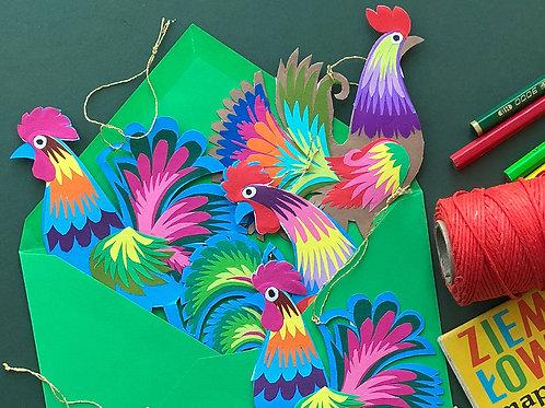 Paper cockerel decoration