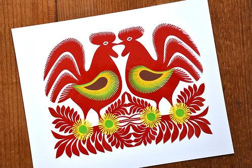 Scarlet paper-cut cockerels