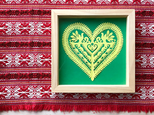 Framed yellow paper cut heart