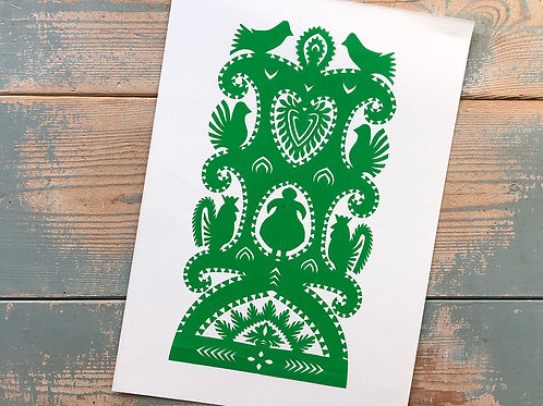 Green handmade paper-cut picture No.2