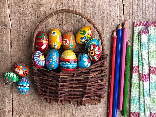 Small painted wooden Easter egg
