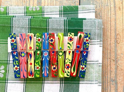 Painted clothes pegs