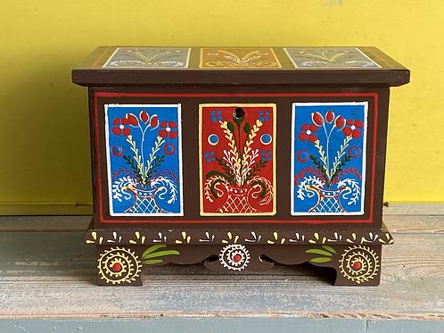 Brown patterned folk art wooden box