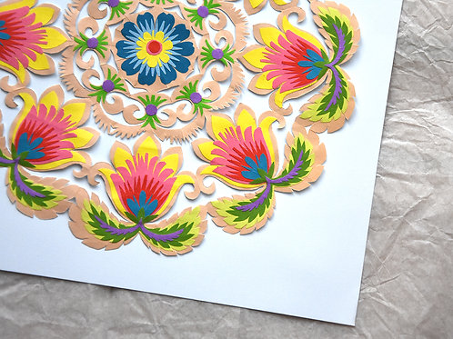 Handmade paper-cut circle picture No.5