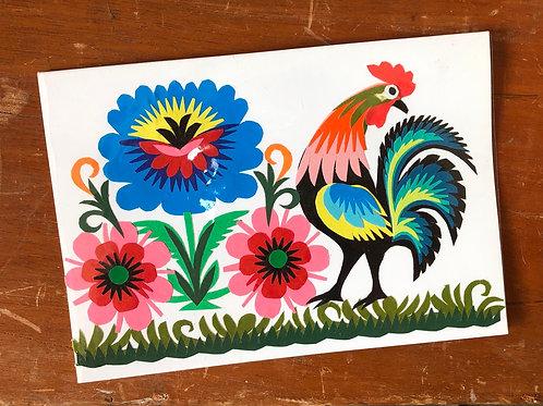 Handmade cockerel card No.2