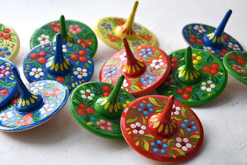 Wooden hand painted spinning top