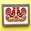 Thumbnail: Twin cockerels paper cut, framed