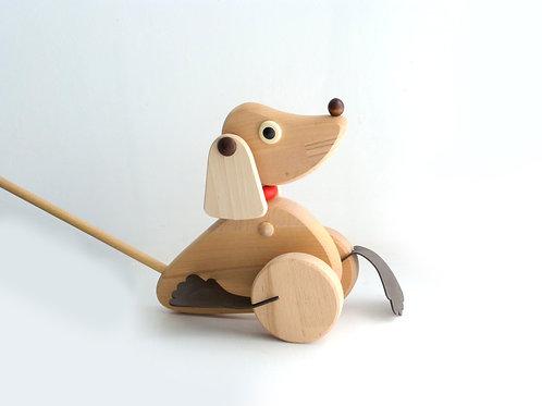 Push along wooden dog toy