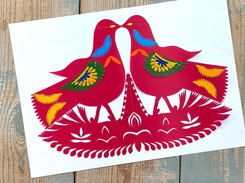 Twin scarlet doves No.2