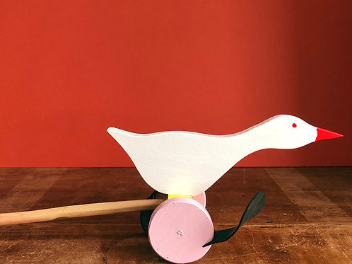 Push along wooden goose