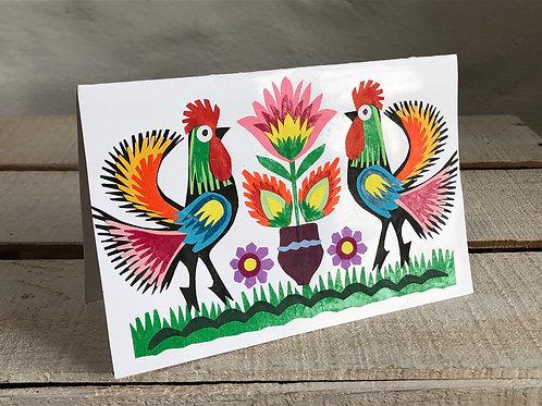 Folk art double cockerel card