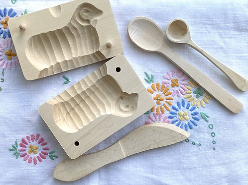 Wooden butter mould in the shape of a sheep