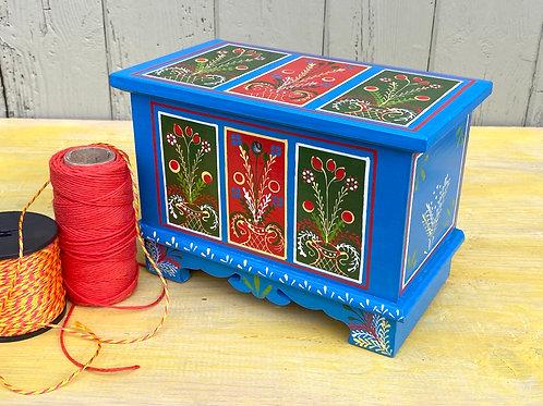 Blue folk art wooden box No.1