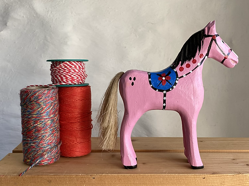 Pink wooden horse