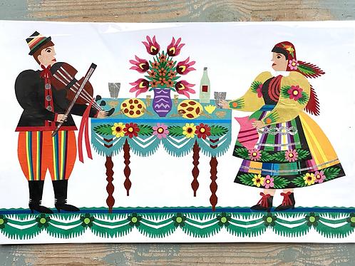 Original folk art paper cut picture