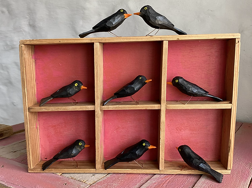 Wooden black birds