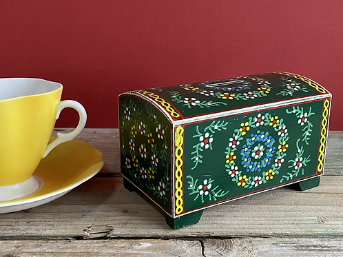 Painted wooden money box
