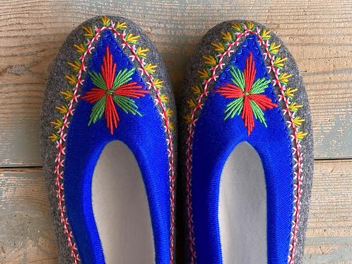 Danuta blu/grey slippers size 38