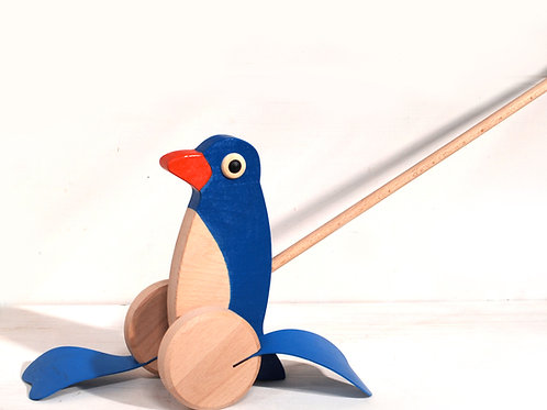 Push along wooden penguin toy