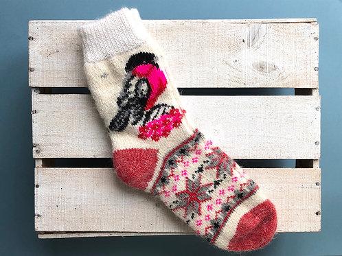 Bird pattern wool sock No.2