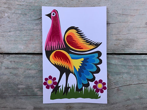 Handmade folk art bird card