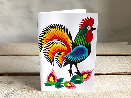 Handmade folk art cockerel card