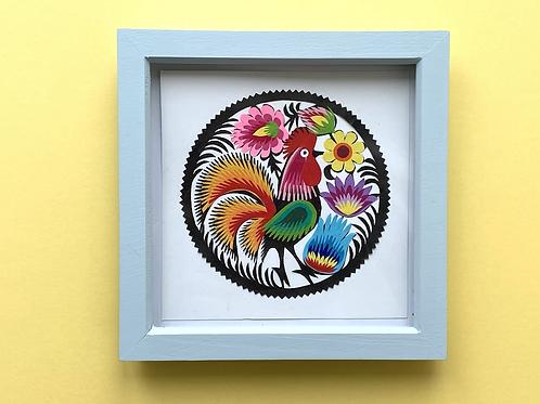 Cockerel Paper cut, framed