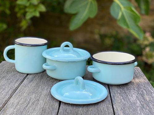 Little pale blue enamel pot
