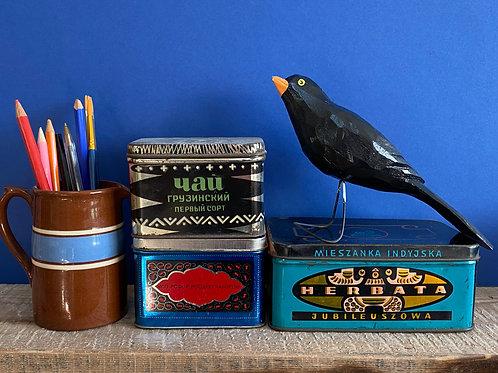 Wooden black bird