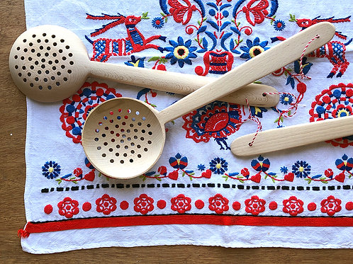 Big wooden slotted spoon