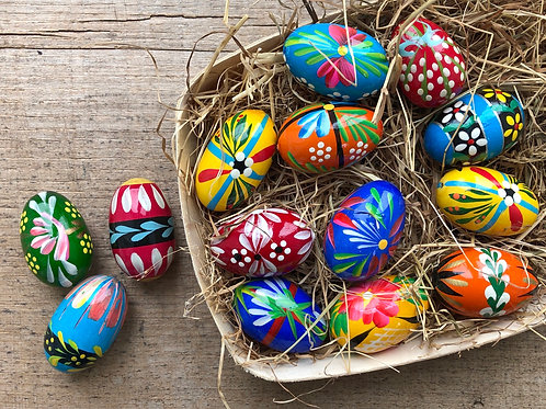 Medium painted wooden Easter egg