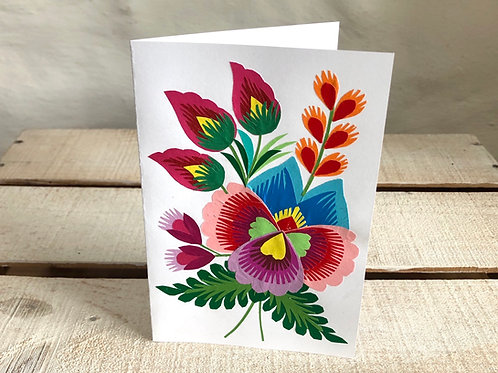 Folk art floral card No.1