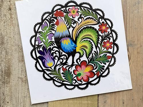 Cockerel paper cut picture No.1