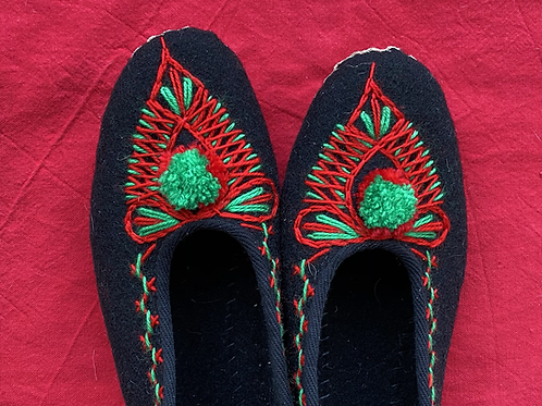 Lena embroidered wool slippers
