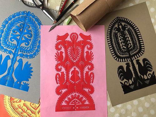 Handmade red paper-cut picture