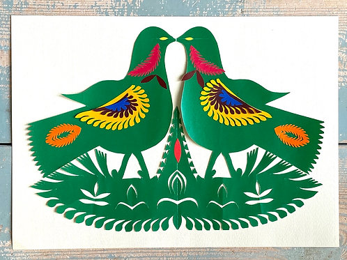 Twin green doves