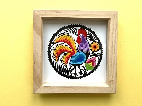 Cockerel Paper cut No.2 framed