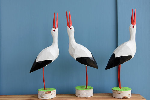 Stork, carved wood and painted