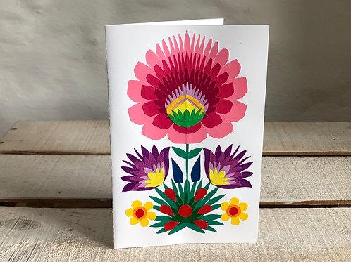 Folk art pink flower card No.1