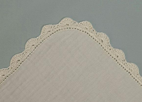 Crochet Edge Muslin Square - Cream/Cream - Small