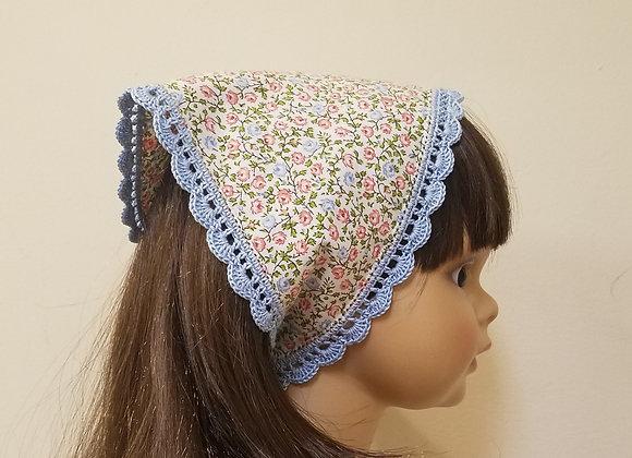 Crocheted Edge Scarf - Pink/blue floral cream background - Medium