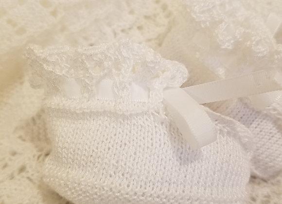 Short Lace Bootie - White