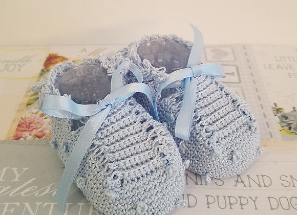 Little Criket Bobble Booties - Pale Blue