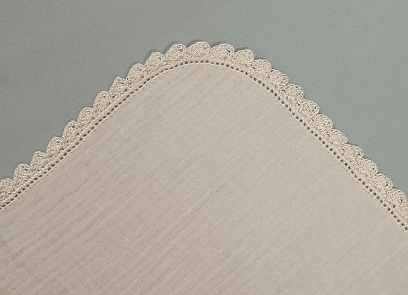 Crochet Edge Muslin Square - Cream/Cream -Small