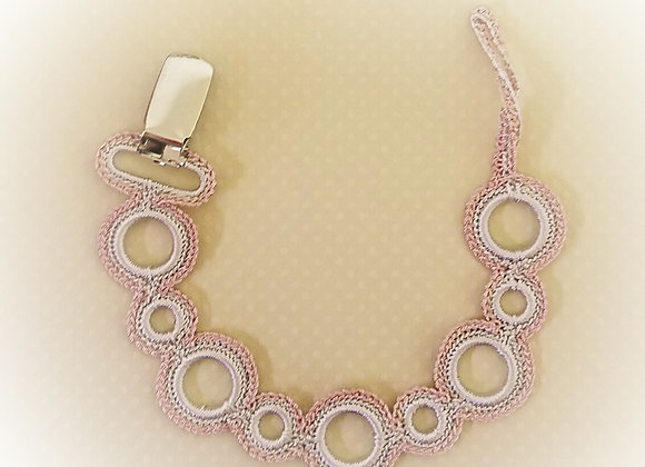 Crocheted Pacifier Holder - Dusky Pink on Beige