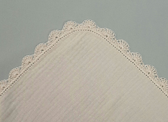 Crochet Edge Muslin Square - Ivory/Cream - Large
