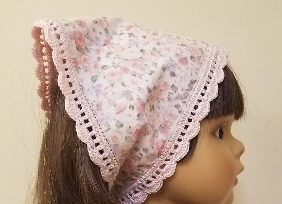 Crocheted Edge Scarf - Pink Floral/Pink Edge - Medium