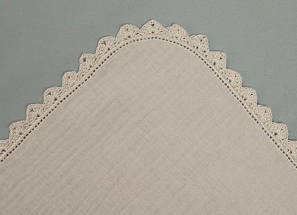 Crochet Edge Muslin Square - Cream/Cream - Large