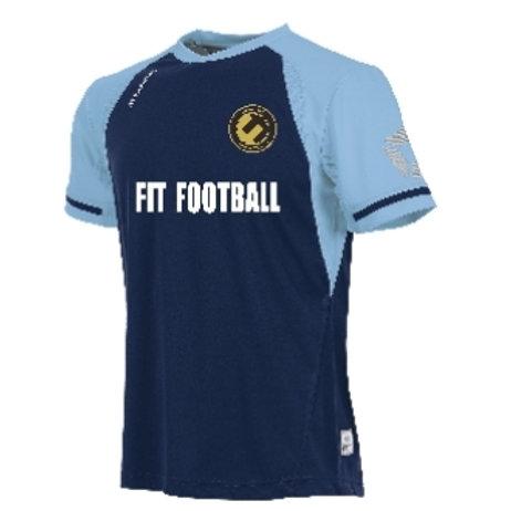 Fit football kit (navy blue/sky blue sleeves)