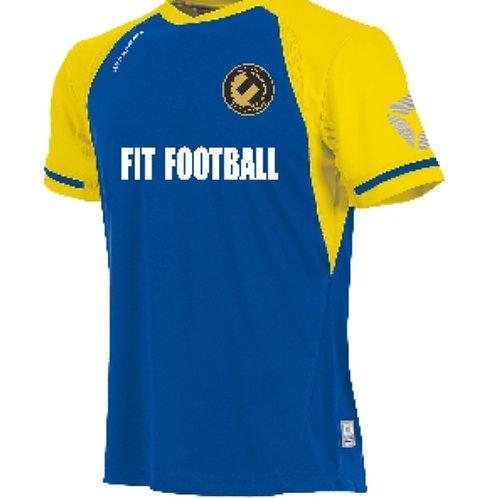 Fit football kit top (Royal blue/yellow sleeves)